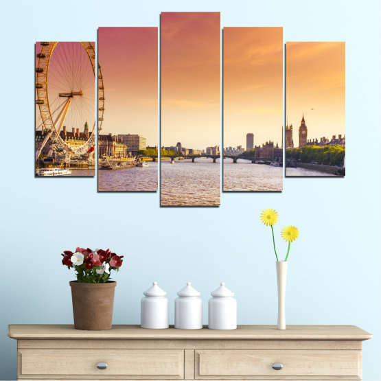 Canvas prints & wall decorative panels - 5 pieces №0100 » Yellow, Orange, Brown, Gray, Beige, Milky pink » City, Water, Landmark, Austria, Ferris wheel Form #1