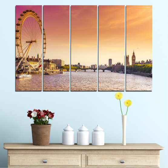 Canvas prints & wall decorative panels - 5 pieces №0100 » Yellow, Orange, Brown, Gray, Beige, Milky pink » City, Water, Landmark, Austria, Ferris wheel Form #2