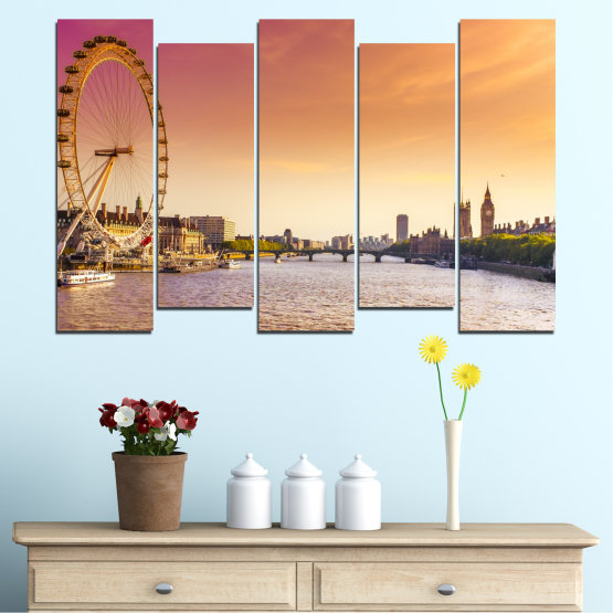 Canvas prints & wall decorative panels - 5 pieces №0100 » Yellow, Orange, Brown, Gray, Beige, Milky pink » City, Water, Landmark, Austria, Ferris wheel Form #3