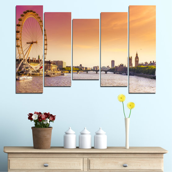 Canvas prints & wall decorative panels - 5 pieces №0100 » Yellow, Orange, Brown, Gray, Beige, Milky pink » City, Water, Landmark, Austria, Ferris wheel Form #4