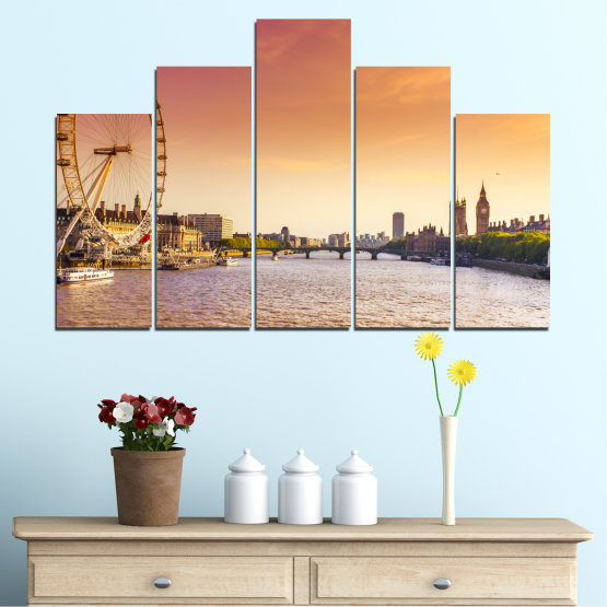Canvas prints & wall decorative panels - 5 pieces №0100 » Yellow, Orange, Brown, Gray, Beige, Milky pink » City, Water, Landmark, Austria, Ferris wheel Form #5