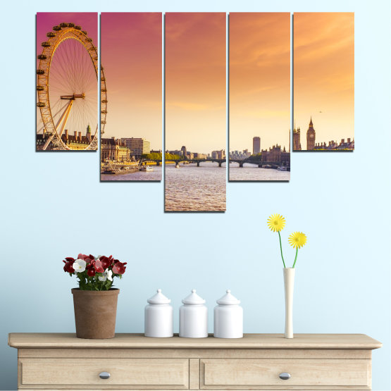 Canvas prints & wall decorative panels - 5 pieces №0100 » Yellow, Orange, Brown, Gray, Beige, Milky pink » City, Water, Landmark, Austria, Ferris wheel Form #6