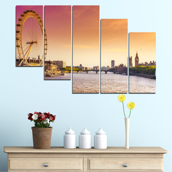 Canvas prints & wall decorative panels - 5 pieces №0100 » Yellow, Orange, Brown, Gray, Beige, Milky pink » City, Water, Landmark, Austria, Ferris wheel Form #7