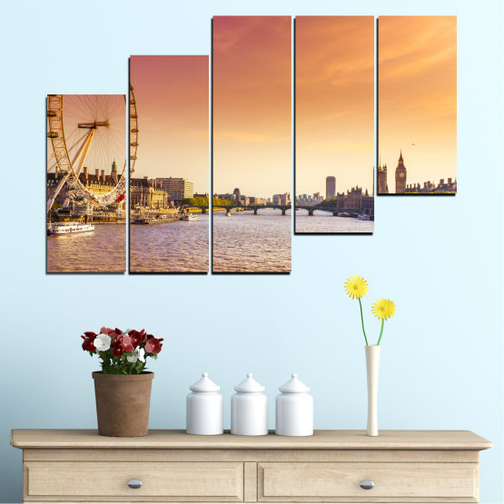Canvas prints & wall decorative panels - 5 pieces №0100 » Yellow, Orange, Brown, Gray, Beige, Milky pink » City, Water, Landmark, Austria, Ferris wheel Form #8