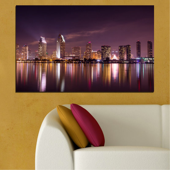 Canvas prints & wall decorative panels - 1 piece №0330 » Brown, Black, Gray, Dark grey » Water, City, Lights, Reflection, Night, Skyscraper Form #1
