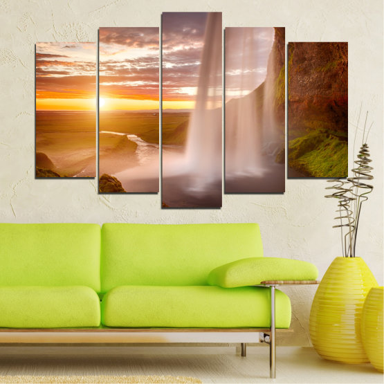 Canvas prints & wall decorative panels - 5 pieces №0101 » Orange, Brown, Gray, Beige » Nature, Water, Sunset, Waterfall, River Form #1