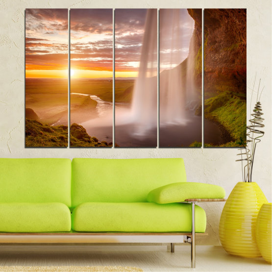 Canvas prints & wall decorative panels - 5 pieces №0101 » Orange, Brown, Gray, Beige » Nature, Water, Sunset, Waterfall, River Form #2