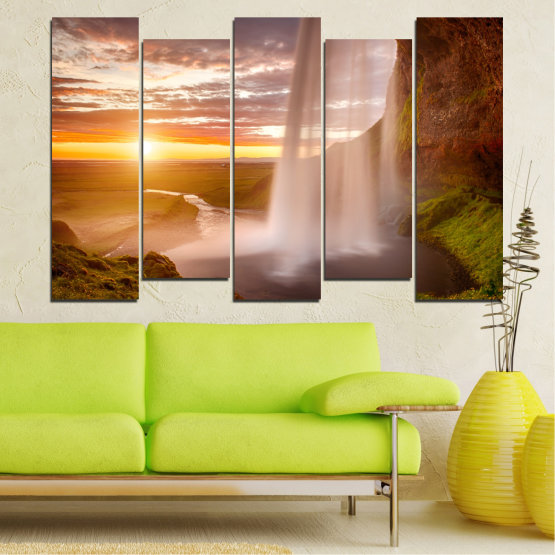 Canvas prints & wall decorative panels - 5 pieces №0101 » Orange, Brown, Gray, Beige » Nature, Water, Sunset, Waterfall, River Form #3