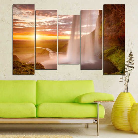 Canvas prints & wall decorative panels - 5 pieces №0101 » Orange, Brown, Gray, Beige » Nature, Water, Sunset, Waterfall, River Form #4
