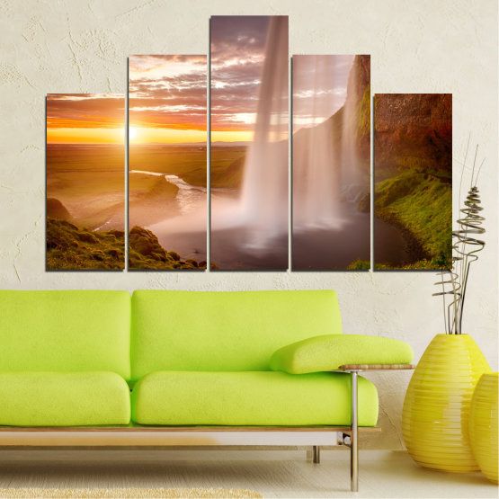 Canvas prints & wall decorative panels - 5 pieces №0101 » Orange, Brown, Gray, Beige » Nature, Water, Sunset, Waterfall, River Form #5