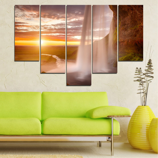 Canvas prints & wall decorative panels - 5 pieces №0101 » Orange, Brown, Gray, Beige » Nature, Water, Sunset, Waterfall, River Form #6