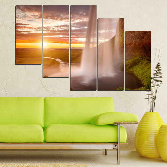 Canvas prints & wall decorative panels - 5 pieces №0101 » Orange, Brown, Gray, Beige » Nature, Water, Sunset, Waterfall, River Form #7