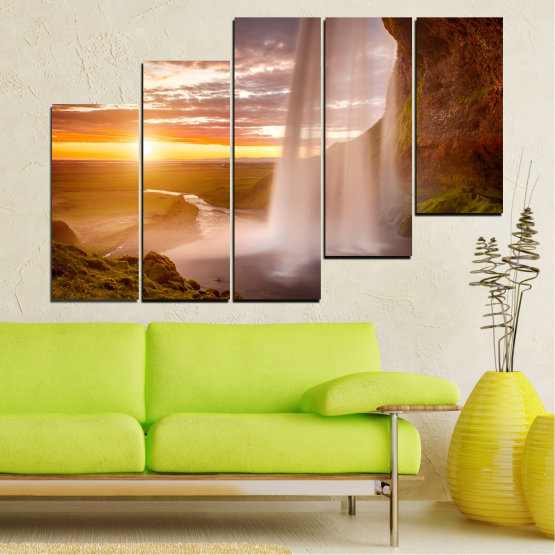 Canvas prints & wall decorative panels - 5 pieces №0101 » Orange, Brown, Gray, Beige » Nature, Water, Sunset, Waterfall, River Form #8