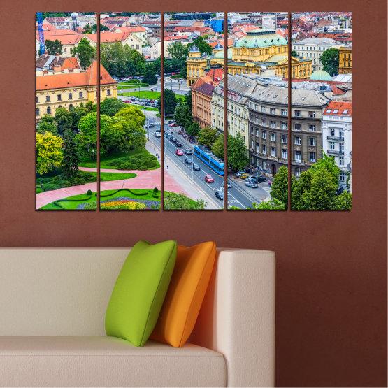 Canvas prints & wall decorative panels - 5 pieces №0102 » Green, Black, Gray, Milky pink, Dark grey » City, Capital, Croatia Form #2