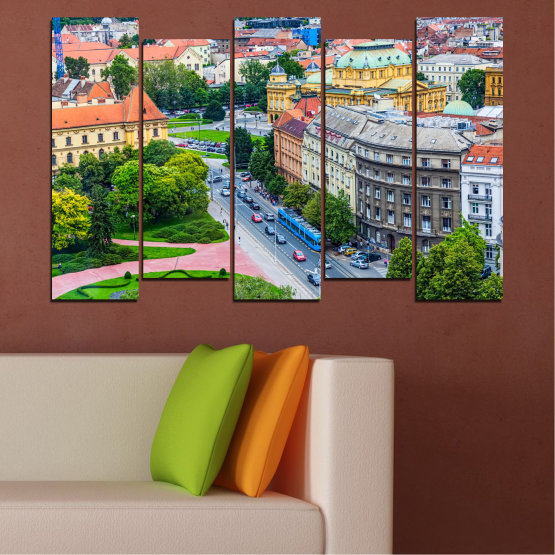 Canvas prints & wall decorative panels - 5 pieces №0102 » Green, Black, Gray, Milky pink, Dark grey » City, Capital, Croatia Form #3