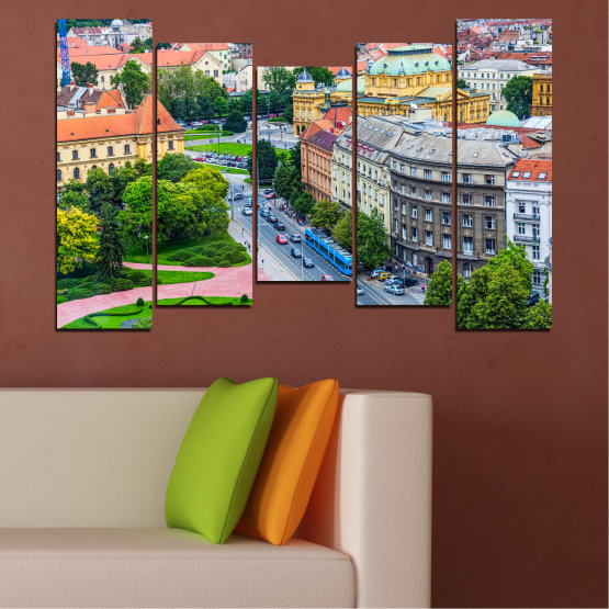 Canvas prints & wall decorative panels - 5 pieces №0102 » Green, Black, Gray, Milky pink, Dark grey » City, Capital, Croatia Form #4