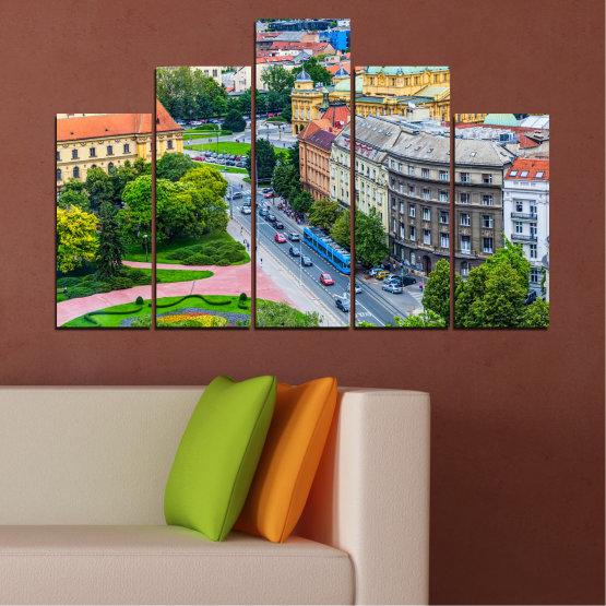 Canvas prints & wall decorative panels - 5 pieces №0102 » Green, Black, Gray, Milky pink, Dark grey » City, Capital, Croatia Form #5