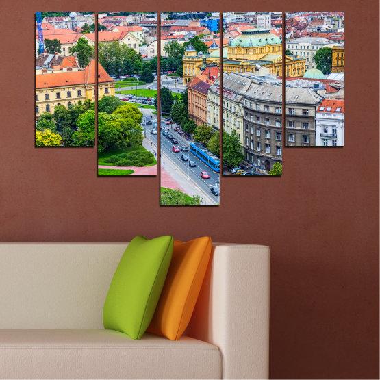 Canvas prints & wall decorative panels - 5 pieces №0102 » Green, Black, Gray, Milky pink, Dark grey » City, Capital, Croatia Form #6