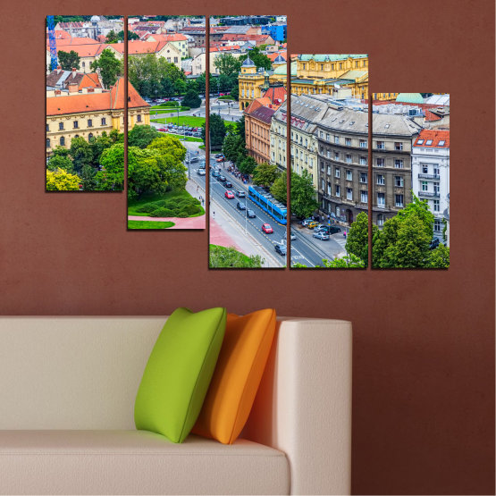 Canvas prints & wall decorative panels - 5 pieces №0102 » Green, Black, Gray, Milky pink, Dark grey » City, Capital, Croatia Form #7
