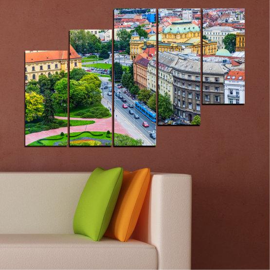 Canvas prints & wall decorative panels - 5 pieces №0102 » Green, Black, Gray, Milky pink, Dark grey » City, Capital, Croatia Form #8