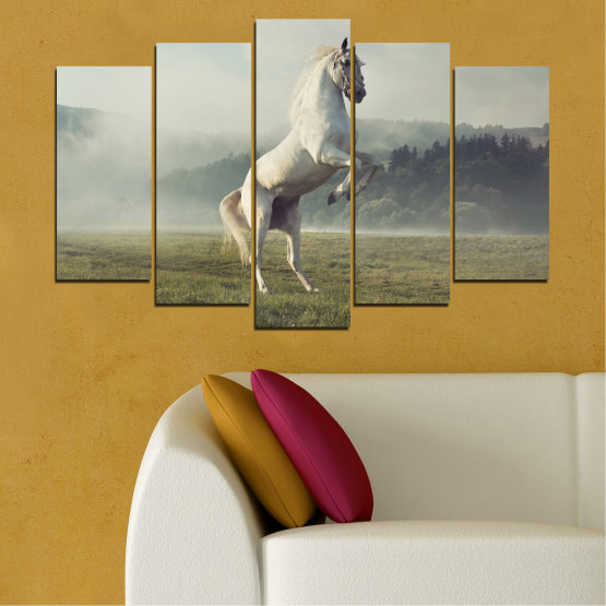 Canvas prints & wall decorative panels - 5 pieces №0104 » Brown, Gray, Beige, Dark grey » Animal, Nature, Horse Form #1