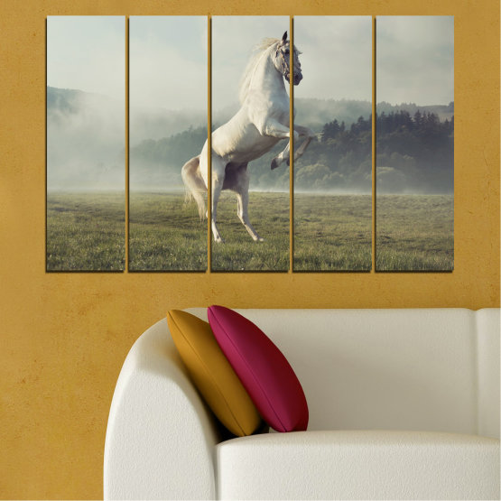 Canvas prints & wall decorative panels - 5 pieces №0104 » Brown, Gray, Beige, Dark grey » Nature, Animal, Horse Form #2
