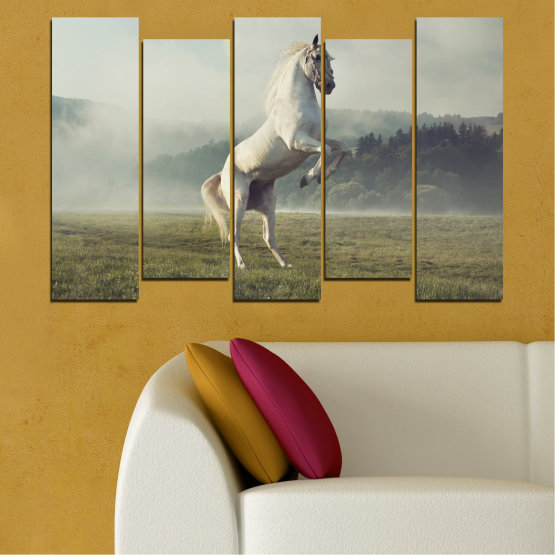 Canvas prints & wall decorative panels - 5 pieces №0104 » Brown, Gray, Beige, Dark grey » Nature, Animal, Horse Form #3