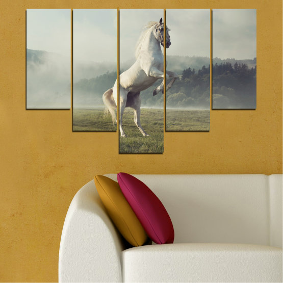 Canvas prints & wall decorative panels - 5 pieces №0104 » Brown, Gray, Beige, Dark grey » Animal, Nature, Horse Form #6