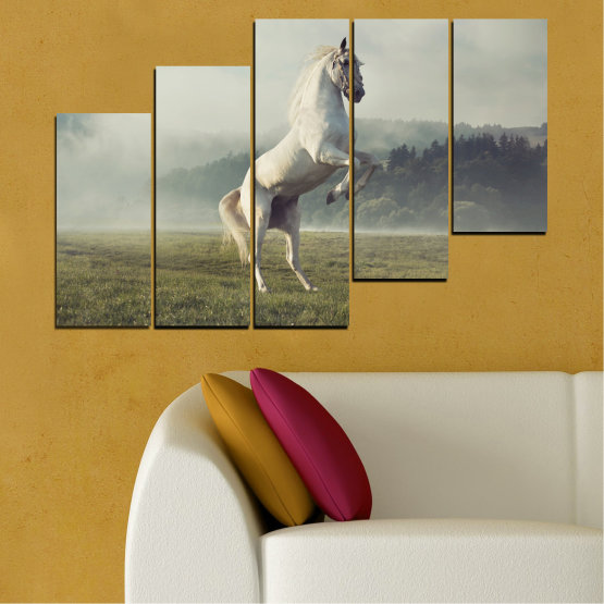 Canvas prints & wall decorative panels - 5 pieces №0104 » Brown, Gray, Beige, Dark grey » Nature, Animal, Horse Form #8