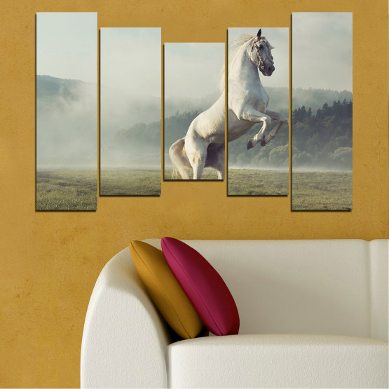 Canvas prints & wall decorative panels - 5 pieces №0104 » Brown, Gray, Beige, Dark grey » Nature, Animal, Horse Form #4