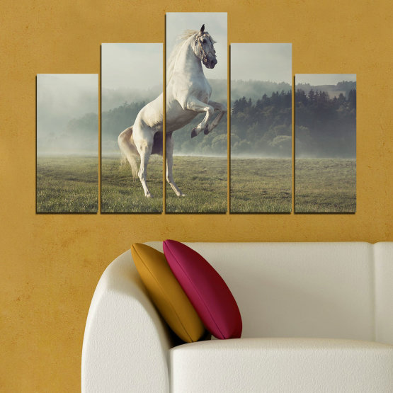 Canvas prints & wall decorative panels - 5 pieces №0104 » Brown, Gray, Beige, Dark grey » Nature, Animal, Horse Form #5