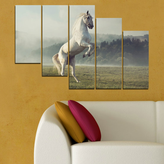 Canvas prints & wall decorative panels - 5 pieces №0104 » Brown, Gray, Beige, Dark grey » Nature, Animal, Horse Form #7