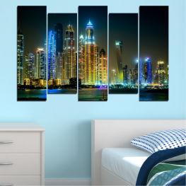 Декоративни панели и картини от канава - от 5 части №0105 Град 3-та Форма