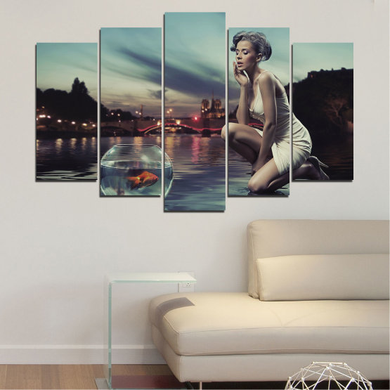 Canvas prints & wall decorative panels - 5 pieces №0106 » Turquoise, Brown, Black, Gray, Beige, Dark grey » Water, Woman, City, Collage, Fashion, Night Form #1