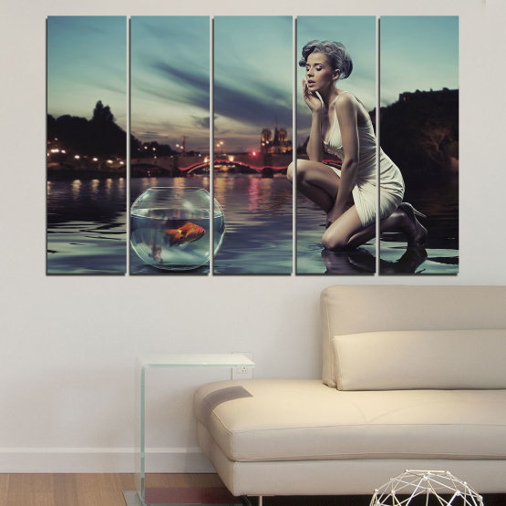 Canvas prints & wall decorative panels - 5 pieces №0106 » Turquoise, Brown, Black, Gray, Beige, Dark grey » Water, Woman, City, Collage, Fashion, Night Form #2