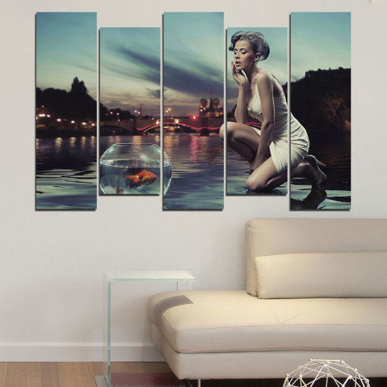 Canvas prints & wall decorative panels - 5 pieces №0106 » Turquoise, Brown, Black, Gray, Beige, Dark grey » Water, Woman, City, Collage, Fashion, Night Form #3