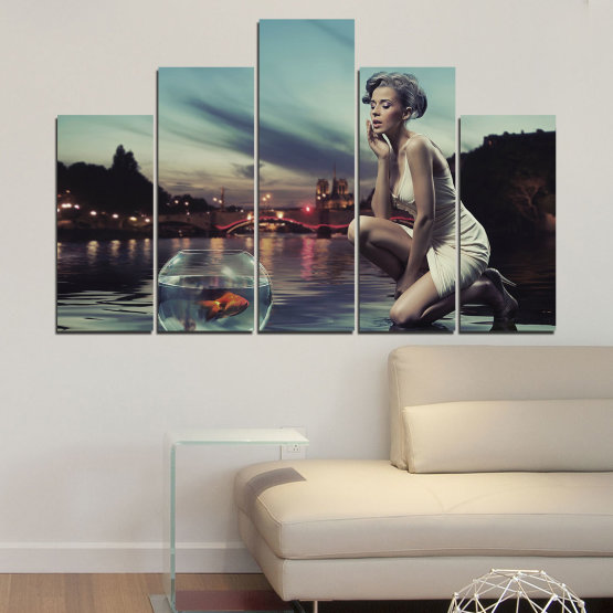 Canvas prints & wall decorative panels - 5 pieces №0106 » Turquoise, Brown, Black, Gray, Beige, Dark grey » Water, Woman, City, Collage, Fashion, Night Form #5