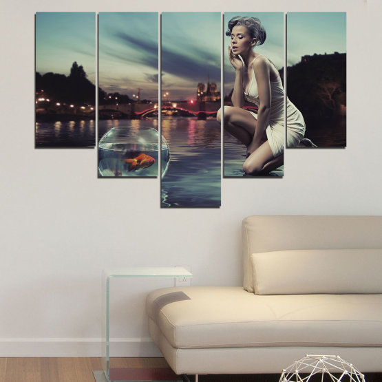 Canvas prints & wall decorative panels - 5 pieces №0106 » Turquoise, Brown, Black, Gray, Beige, Dark grey » Water, Woman, City, Collage, Fashion, Night Form #6