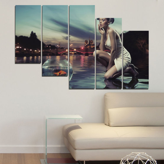 Canvas prints & wall decorative panels - 5 pieces №0106 » Turquoise, Brown, Black, Gray, Beige, Dark grey » Water, Woman, City, Collage, Fashion, Night Form #7
