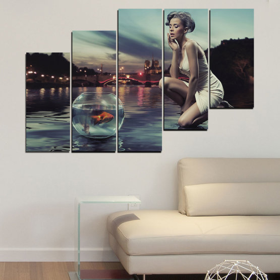 Canvas prints & wall decorative panels - 5 pieces №0106 » Turquoise, Brown, Black, Gray, Beige, Dark grey » Water, Woman, City, Collage, Fashion, Night Form #8