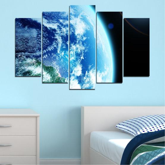Декоративни панели и картини от канава - от 5 части №0107 » Тюркоаз, Черен, Сив, Бял, Тъмно сив » Космос, Планета, Земя Form #1