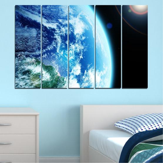 Декоративни панели и картини от канава - от 5 части №0107 » Тюркоаз, Черен, Сив, Бял, Тъмно сив » Космос, Планета, Земя Form #2