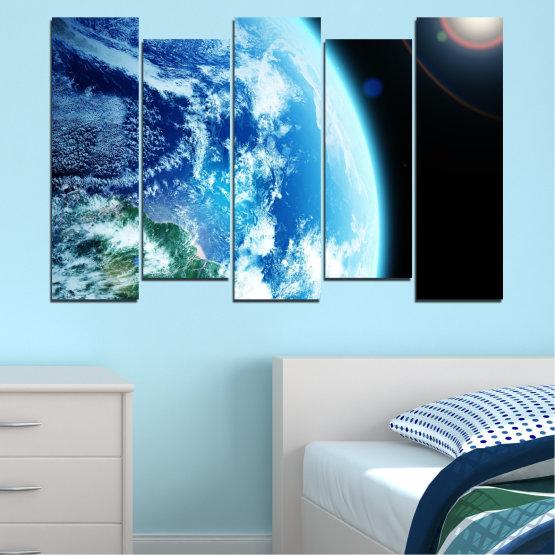 Декоративни панели и картини от канава - от 5 части №0107 » Тюркоаз, Черен, Сив, Бял, Тъмно сив » Космос, Планета, Земя Form #3