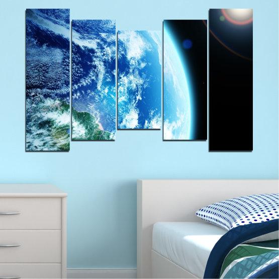 Декоративни панели и картини от канава - от 5 части №0107 » Тюркоаз, Черен, Сив, Бял, Тъмно сив » Космос, Планета, Земя Form #4