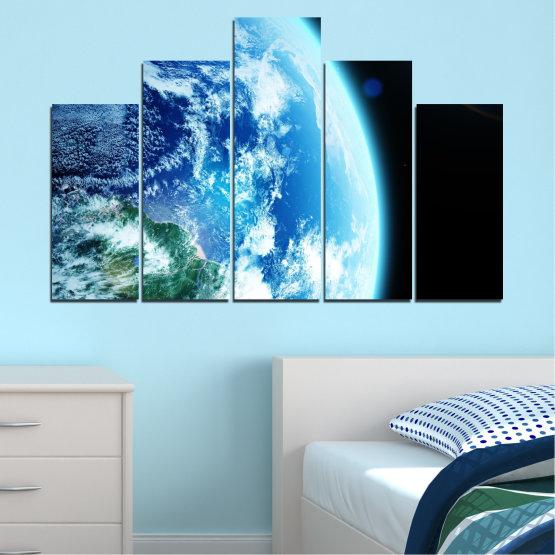 Декоративни панели и картини от канава - от 5 части №0107 » Тюркоаз, Черен, Сив, Бял, Тъмно сив » Космос, Планета, Земя Form #5