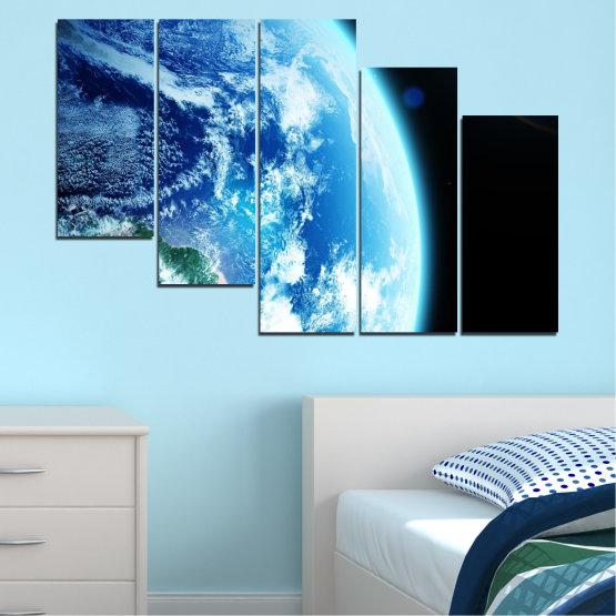 Декоративни панели и картини от канава - от 5 части №0107 » Тюркоаз, Черен, Сив, Бял, Тъмно сив » Космос, Планета, Земя Form #7