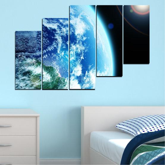 Декоративни панели и картини от канава - от 5 части №0107 » Тюркоаз, Черен, Сив, Бял, Тъмно сив » Космос, Планета, Земя Form #8