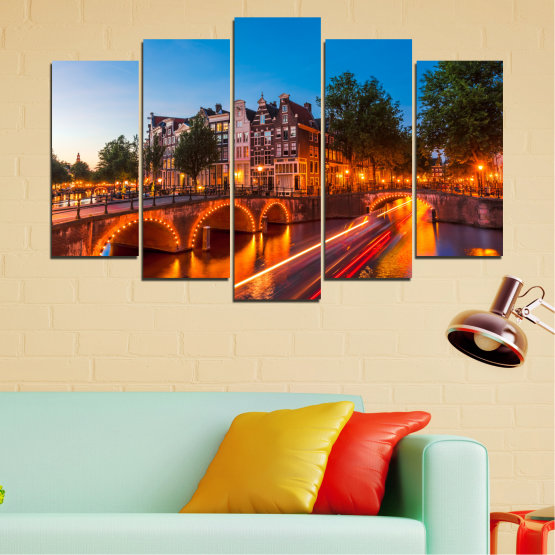Canvas prints & wall decorative panels - 5 pieces №0109 » Red, Blue, Orange, Brown, Black, Dark grey » Water, Lights, Bridge, Capital, Netherlands Form #1