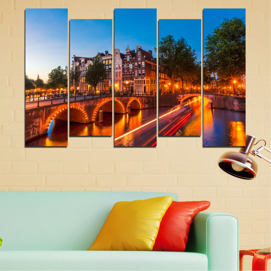 Canvas prints & wall decorative panels - 5 pieces №0109 » Red, Blue, Orange, Brown, Black, Dark grey » Water, Lights, Bridge, Capital, Netherlands Form #3