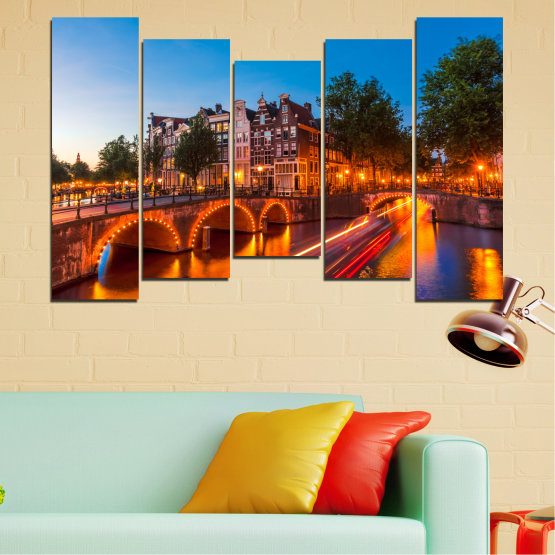 Canvas prints & wall decorative panels - 5 pieces №0109 » Red, Blue, Orange, Brown, Black, Dark grey » Water, Lights, Bridge, Capital, Netherlands Form #4
